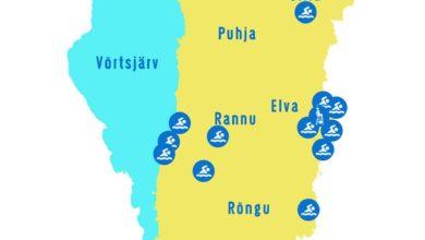 Photo of Elva valla ujumiskohtade kaart